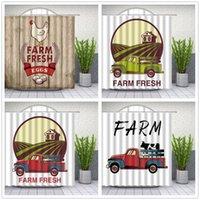 Camión de granja Vacas Patrón Tela Cortinas de ducha Dibujos animados 3D Imprimir Decoración Decoración Impermeable Poliéster Paño Colgante Cortina Conjunto