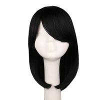 Corto negro cos peluca mujeres chicas bob bob recta cosplay pelucas traje fiesta negro 40 cm pelo sintético pelucas bob pelucas fiesta