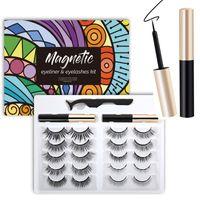 10Pairs maquiagem maquiagem cruz cílios falsos olho cílios extensão artesanal natureza cílios magnéticos pílulas pinça magnética líquido magnético eyeline