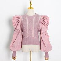 Twotwinstyle Patchwork Dantelli Kazak Kadınlar O Boyun Puf Kollu Rahat Tunik Kazak Kadın Moda Yeni Giyim Güz 201203