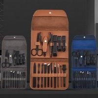 도매 전문 블랙 매니큐어 도구 네일 세트 손톱 클리퍼 발가락 트리머 손톱 깎기 세트 16 조각 휴대용 가방