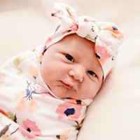 15682 Florals Baby Muslin Wrapdle Wrap Обитание Обиты Одеяла Детская Света Потенление Детская Детская Обернутая Стрижка с повязкой 2 шт. / Набор