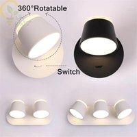 360 Derece Rotasyon Duvar Lambaları Başucu LED Okuma Işık, Yeni Tasarım Düğmesi ve Dokunmatik Anahtarı İsteğe Bağlı Merdiven Duvar Işıkları1