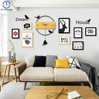 단단한 나무 벽 시계 사진 프레임 북유럽 거실 음소거 스윙 성격 홈 침실 장식 쿼츠 시계 현대적인 디자인