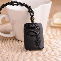 Nuovo ciondolo della testa del Buddha del viso del viso di ossidiana naturale più venduto, pendente per uomini e donne dello stesso stile, pendente per gli amanti