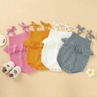 Neugeborenes Baby-Mädchen-Sleeveless Spielanzug-Knit Bodysuit-Overall Lotosblatspitze One Piece Overalls Frühling Herbst Outfits