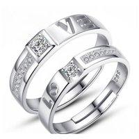 Moda 30 pares de diferentes diseños 925 amantes de plata Apertura de circón Anillo ajustable Joyería para la boda Coupated Coup WMTARF Luckyhat