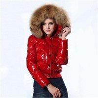 Mode Frauen Designer Die glänzende Daunenjacke Winter Frauen Dress Down Mantel Echt Waschbär Pelzmantel Abnehmbare Kragenhaube Parkas