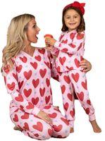 Valentine Pyjamas Sets Eltern-Kind-Kleidung Herz-gedrucktes T-Shirt-Tops-T-Shirt-Legging-Hosen-Zwei- teilzug für Kinder Erwachsene Mädchen Homewear G10801