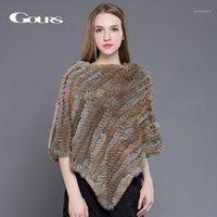 Шарфы женские меховые обертывания для женщин зимние теплые дамы вязаные натуральные шали мода марки пончо пуловер 031