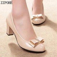 ZZPOHE Bahar Moda Kadınlar Yüksek Topuklu Parti Ayakkabı Bayanlar Deri Yuvarlak Ayak Ofis İş Ayakkabı Kadın Kadın Düğün Ayakkabı Pompaları Y200702