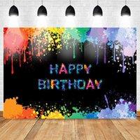 Glow Splatter Backdrop Birthday Background Colorful Graffiti Birthday Party Banner Decorazione Neon Vernice Photo Booth Backdrops1