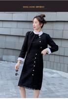 2020 Yeni tasarım kadın siyah renk lurex patchwork tırmanmak tüvit yün kısa ceket ve diz boyu tankı elbise 2 adet set