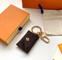 Дизайнер Письмо кошелек брелок брелок моды кошелек подвесной автомобиль цепи очарование коричневый цветок мини-мешок спряженные подарки аксессуары нет коробки