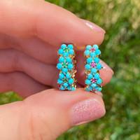 2021 primavera nova moda moda mulheres jóias ouro cor príges conjunto azul turquesa pedra flor brinco
