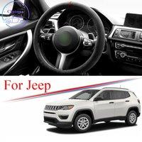 Alcantara 자동차 스티어링 휠 커버 스웨이드 트림 스트립 For Jeep Wrangler Cherokee Compass Patriot Universal 38cm 15 인치 인테리어 액세서리
