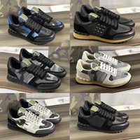 2021 Hommes Baskets Rockrunner Camouflage Tissu Maille Tissu Entraîneurs Designers Chaussures En Cuir Runner en plein air Chaussures de sport 23 Couleurs avec boîte-cadeau