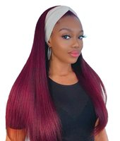 Ishow 99J Proste ludzkie peruki do włosów z opaskami na głowę Long 28 30inch Pałąk Peruka Body Wave Brak Koronki Peruka Kolorowe dla kobiet w każdym wieku
