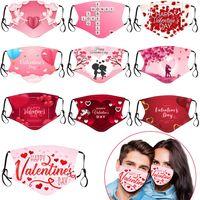 День Святого Валентина Маски для лица хлопчатобумажные пылезащитные отпечатки респиратор моющиеся RRREUSABLE INSERT Party Masks моющийся рот крышка RRE3153