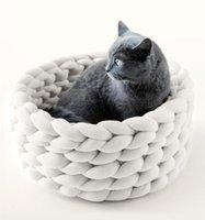 Kennels Pens Casa de gato Hecho a mano Perro de punto Gato Kennel Cálido suave Cueva Mats Detalle Puppy Cesta para dormir Bolsos de dormir Cama acogedora