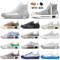 2021 B23 Sneakers de diseño Obliques Obliques Técnico de cuero alto Flores de baja plataforma Zapatos casuales al aire libre Tamaño vintage 36-45 # 84b