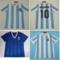 톱 1978 1986 아르헨티나 레트로 유니폼 빈티지 클래식 디에고 Maradona 축구 유니폼 푸른 축구 셔츠 Caniggia Maillot 드 발