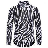M-3XL Streetwear Us Size Рубашка Мужчины Зебра Печатная Пексированная Сторона Рубашка Длинный Рукав Легкий Вес Офис Мужская Мода XXXL1