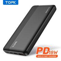 Topk i1015p 빠른 충전 3.0 10000mAh 전원 뱅크 USB 타입 C PD PowerBank 휴대용 외부 배터리 충전기 전화 xiaomi