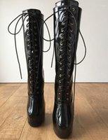 Black Heelless Coofs Boots Большой Размер Унисекс Круглый Носок Клиновые Сапоги Сексуальные Шнуровые Обувь Обувь на заказ Широкие каблуки для женщин Обувь1