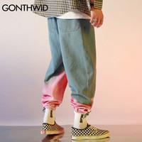 Gonthwid Tie Dye Cor Block Corredores Harem Cargo Denim Jeans Streetwear Mens Hip Hop Harajuku Casual Baggy Jeans Calças Calças LJ201221