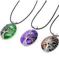 سلاسل الحجر الطبيعي شجرة الحياة البيضاوي الكريستال القلائد الأزياء والمجوهرات النساء العقيق قلادة 2021 بيان المختنق قلادة البوهيمي