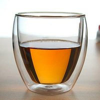 Double-layer coffee cup egg-shaped transparent glass 250ml heat-resistant high boron silicon glass glass