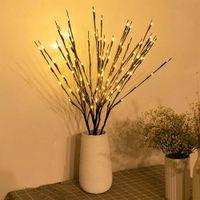 Ağaç Işık Bahçe Çiçek Le Işık Bahçe Çiçek LED Söğüt Şube Lambası Pil Kumandalı 20 Ampuller Ev Noel Partisi Bahçe Dekorasyon için