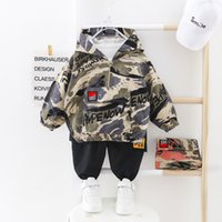 Kid Boy Clothes Camouflage Baby Suit Hooded Camo Top Pants Sport Children Kids Outwear Baby Gifts for Newborn Boys Green CY2