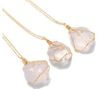 Irregolare naturale pietra naturale blu viola rosa turchese collana di cristallo agata agata fetta pendente catena placcata oro PS2834