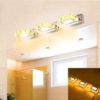 새로운 디자인 6W 더블 램프 크리스탈 표면 욕실 침실 램프 흰색 빛 실버 노드 아트 장식 조명 현대 방수 벽 램프