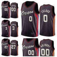 PortlandTrilhaBlazers.Homens Crianças Damian Lillard Carmelo Anthony C.J McCollum 2020/21 Boningman CityNba jersey de basquete 02