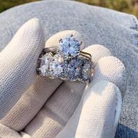 Nuevas joyas de lujo brillante anillos impresionantes 925 plata esterlina oval corte blanco topaz cz dimond gemd piedra mujer boda nupcial anillo conjunto