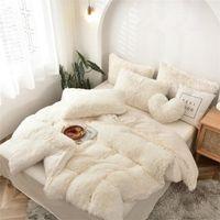 Tessuto in pile bianco Inverno spessa 22 colori puri Biancheria da letto Set di biancheria da letto Visone Velvet Cover Duvet Cover Lettiera Letto Lino