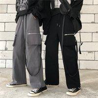 String Hohe Taille Reißverzichtete Tasche Ribbon Lose Harem Fracht Jogger Hip Hop Streetwear Punk Gleis Hose Harajuku Frauen Mann Koreanisch T200423