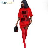 Haoyuan с коротким рукавом футболка платье женщин Vestidos одежда уличная одежда халат плюс размер мини платья повседневная свободная негабаритная платье1