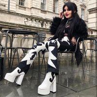 Горячие Продажа Perixir Дизайн 2020 Новая Зимняя мода Коренастый женщина сапоги супер высокой пятки платформы лодыжки леди NightClue обувь Size36-41