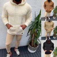 2020 Automne et hiver Nouveau plus Velvet épais de poche épaisse Homme à capuche d'agneau peluche couleur solide couleur chaude occasionnel homme sweat à capuche