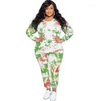 Artı Boyutu Eşofmanlar Rahat Ekip Boyun Bayan İki Parçalı Set Moda Tasarımcısı Bayan Giyim Kravat Boya