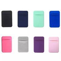 Estuche de teléfono móvil elástico Carteras Titular de la tarjeta de crédito Pocket 3M adhesivo adhesivo bolsa para iPhone 12 mini 11 Pro x xs max xr