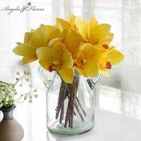27cm 인공 꽃 Cymbidium 꽃다발 실크 플로레스 인공 장식 홈 테이블 사무실 호텔 난초 신부 꽃다발 4 색