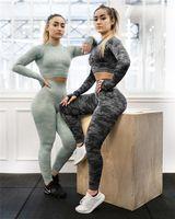 Frauen Trainingsanzüge Frauen 2 Stück Set Fitness Zwei Teile Nahtlose BH Top Gym Githgings Gestreift Patchwork Mode Camouflage 3 Stück