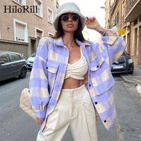 Hilorill Women Woolen Abrigo a cuadros con bolsillos batwing manga larga chaqueta suelta rechaza cuello casual damas tops Outerwear 201103