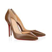 """Sapatos de pele genuína de pele de carneiro sapatos de saltos vermelhos inferiores """"iriza"""" sapato, luxurys designers mulher sola vermelha bombas salto alto festa"""