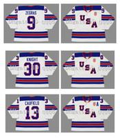 2010 2014 2016 Vintage Team EEUU Jerseys 9 Trevor Zegras 13 Cole Caufield 30 Spencer Knight Custom Hockey